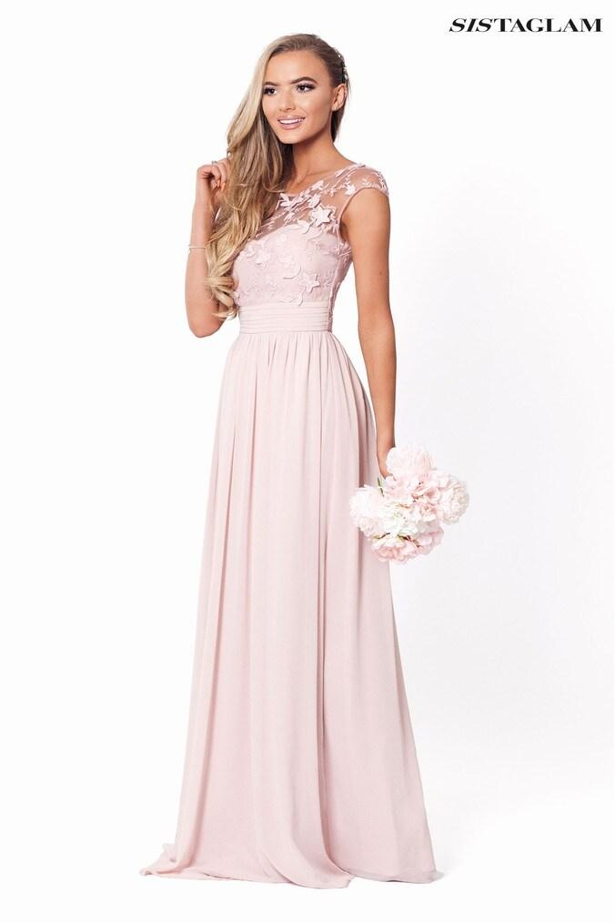 womens sistaglam petite embellished maxi dress -  pink