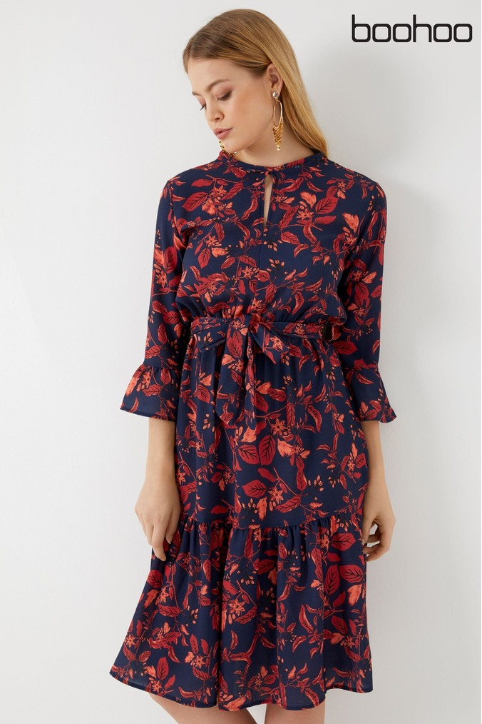 Womens Boohoo Boho Wrap Ruffle Hem Midi Dress -  Blue