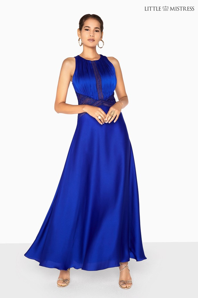 Womens Little Mistress Satin Lace Insert Maxi Dress -  Blue
