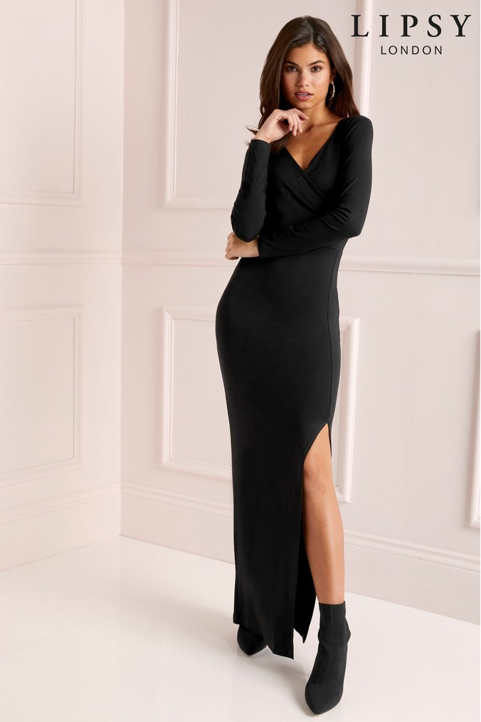 Lipsy Long Sleeve Wrap Maxi Dress - 4 - Black