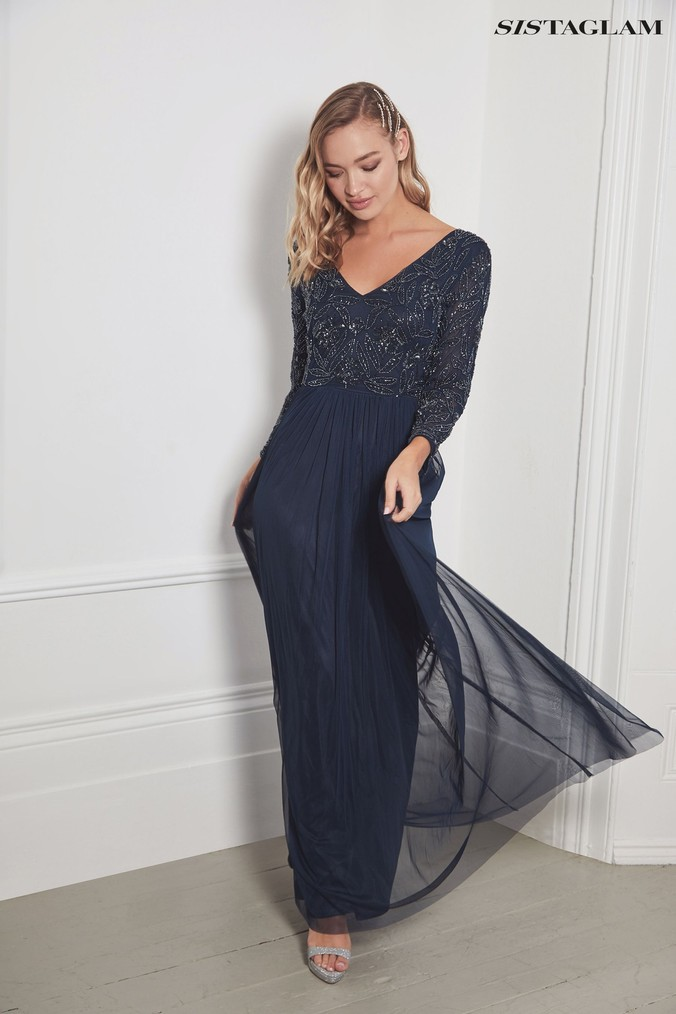 Womens Sistaglam Long Sleeve Embroidered Bodice Maxi Dress -  Blue