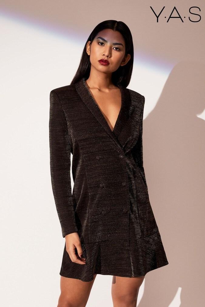 Womens Y.A.S Long Sleeve Blazer Dress -  Black