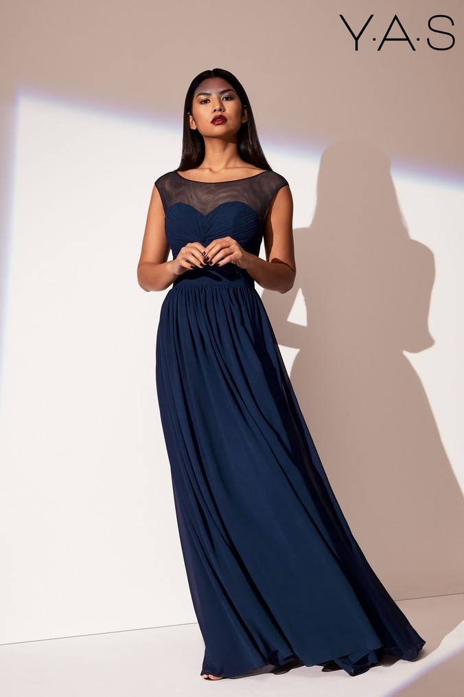 Womens Y.A.S Mesh Dress -  Blue