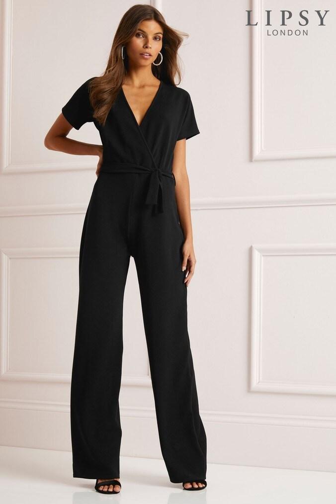 d8f4e66f6e0b Lipsy Petite Wrap Wide Leg Jumpsuit - 18 - Black