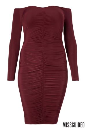 womens missguided curve bardot ruched dress -  red