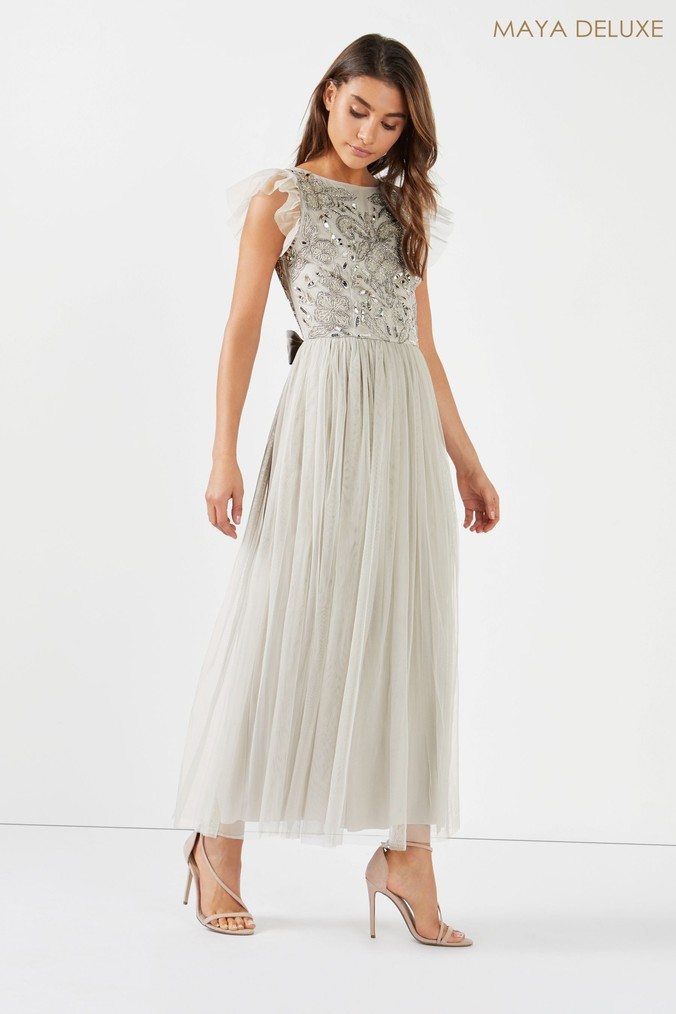 Womens Maya Cut Out Back Embellished Bodice Tiered Maxi Dress -  Grey