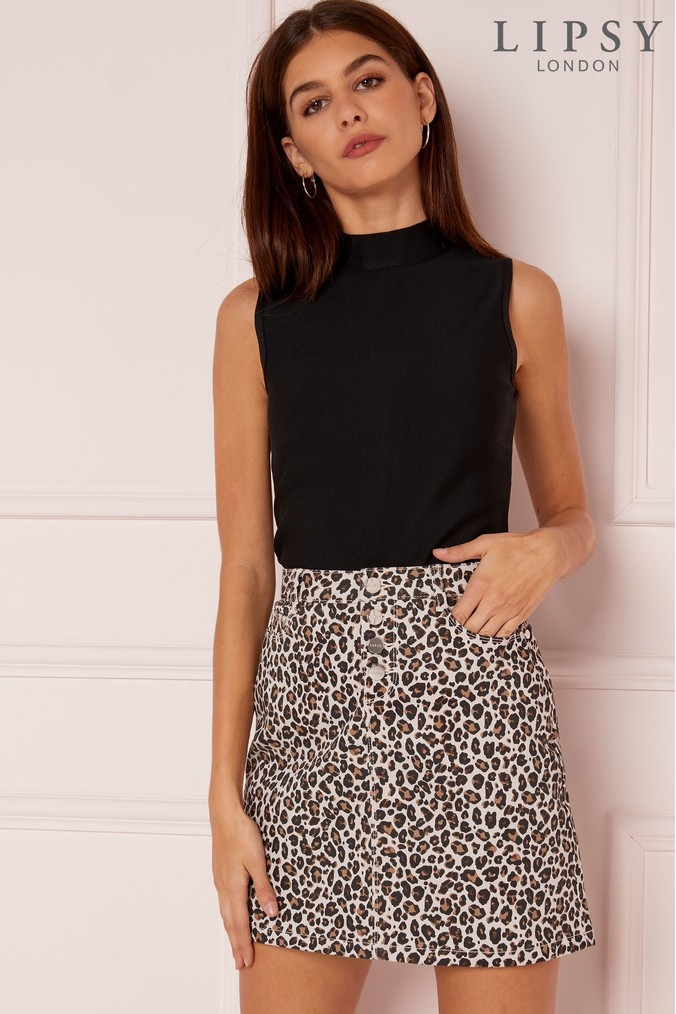 lipsy leopard print mini skirt - 16 - brown 19bb13710
