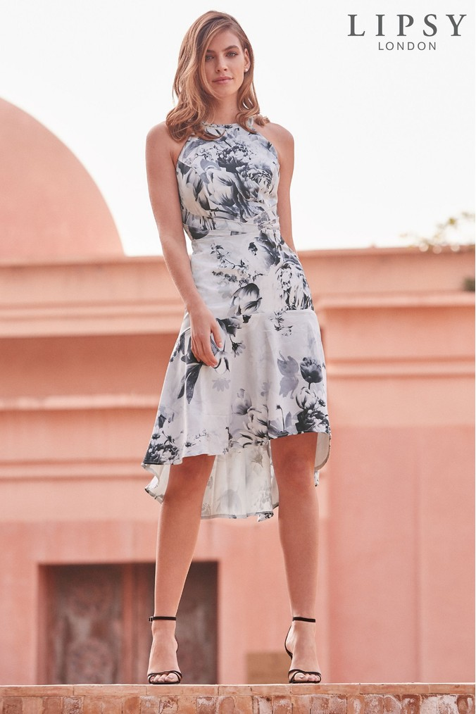 Lipsy VIP Mono Tori Print Satin Midi Dress - 4 - White