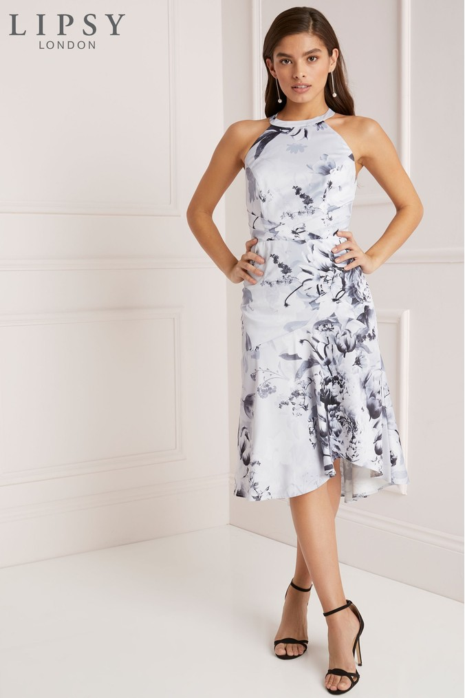 Lipsy Petite VIP Mono Tori Print Satin Midi Dress - 4 - White
