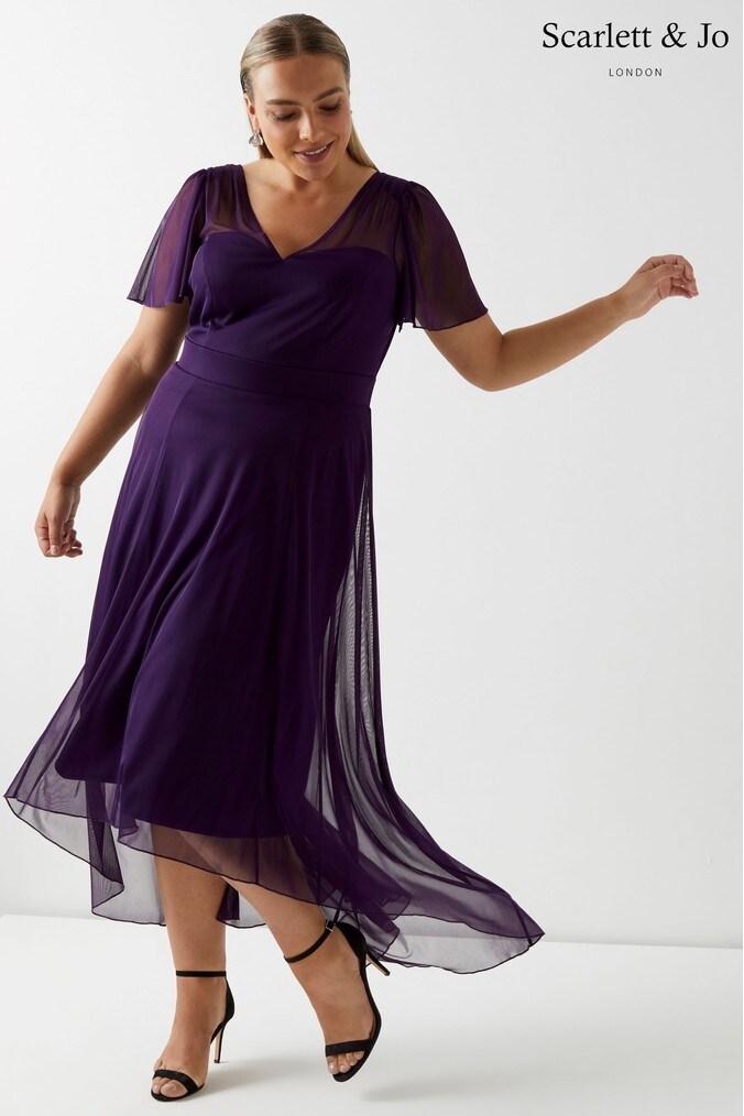 Womens Scarlett & Jo Dip Hem Dress -  Purple