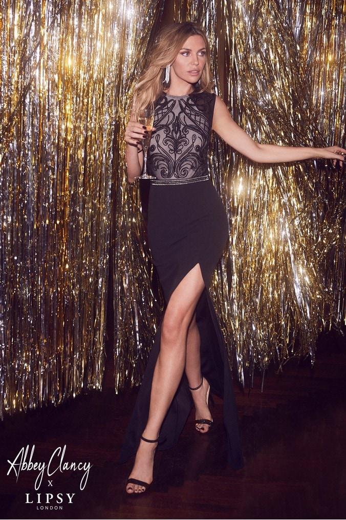 Lipsy Abbey Clancy x Petite Sequin Top Maxi Dress - 8 - Black