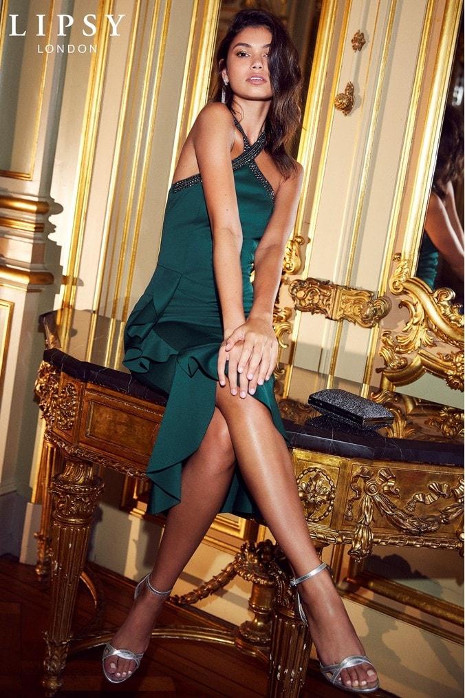 Lipsy Petite Sequin Embellished Halterneck Bodycon Dress - 6 - Green