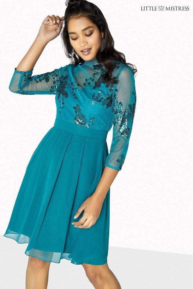 Womens Little Mistress Sequin Mesh Crochet Trim Skater Dress -  Green