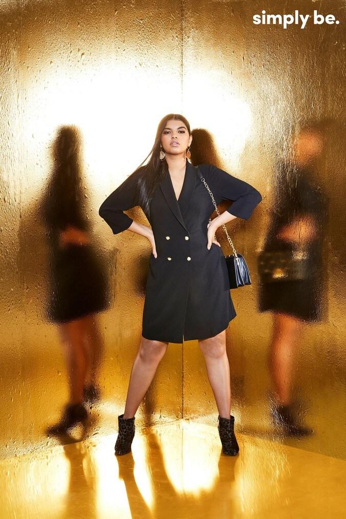 Womens Simply Be Curve Blazer Dress -  Black