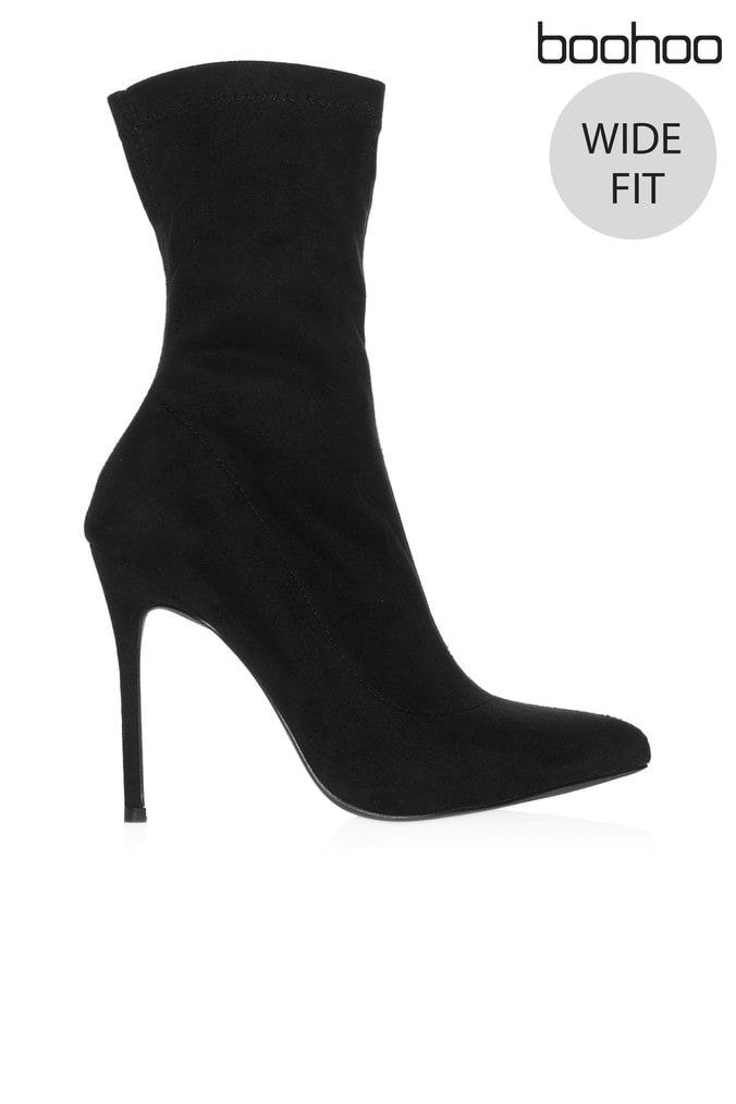 585a9ba4522e Womens Boohoo Wide Fit Suede Sock Boots - Black