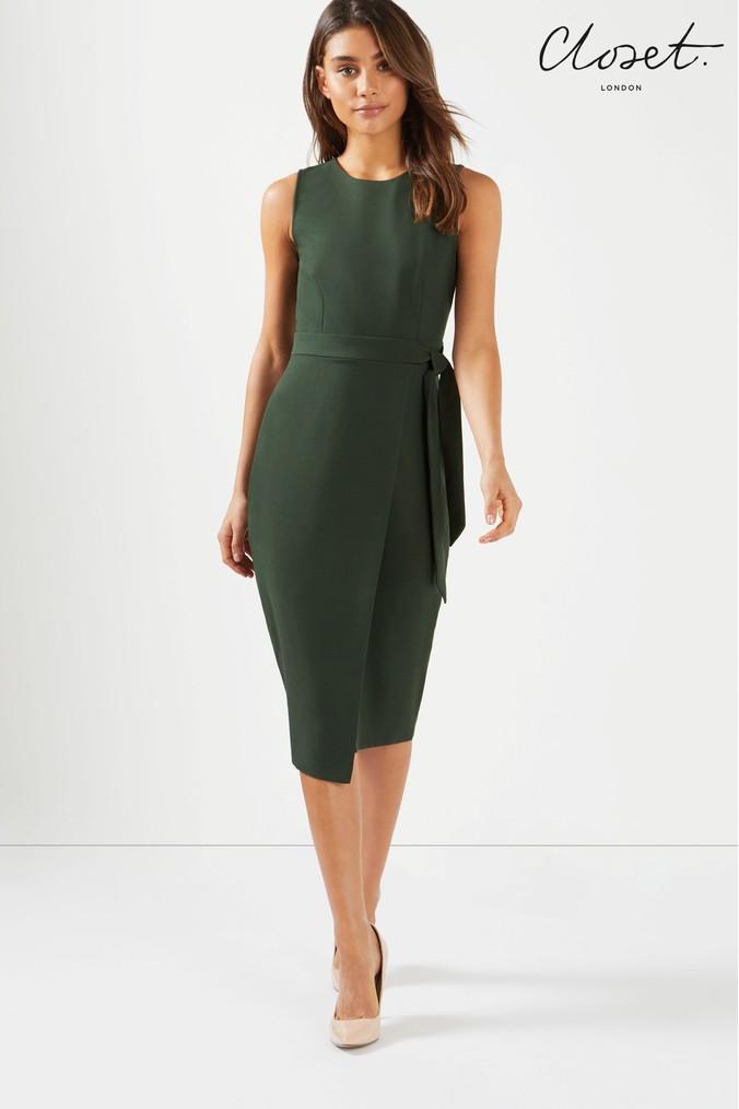 Womens Closet Tie V Back Pencil Midi Dress - Green - Next at Westquay -  Shop Online 75827218e
