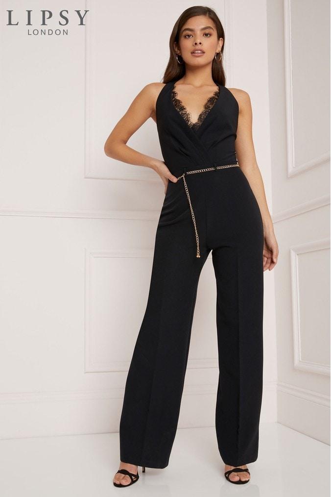 f1b650839c lipsy lace insert wrap jumpsuit - 18 - black