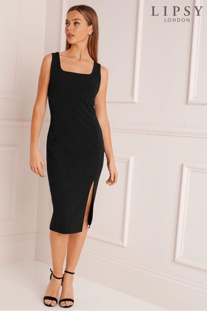 Lipsy Square Neck Midi Bodycon Dress 18 Black Next At Westquay
