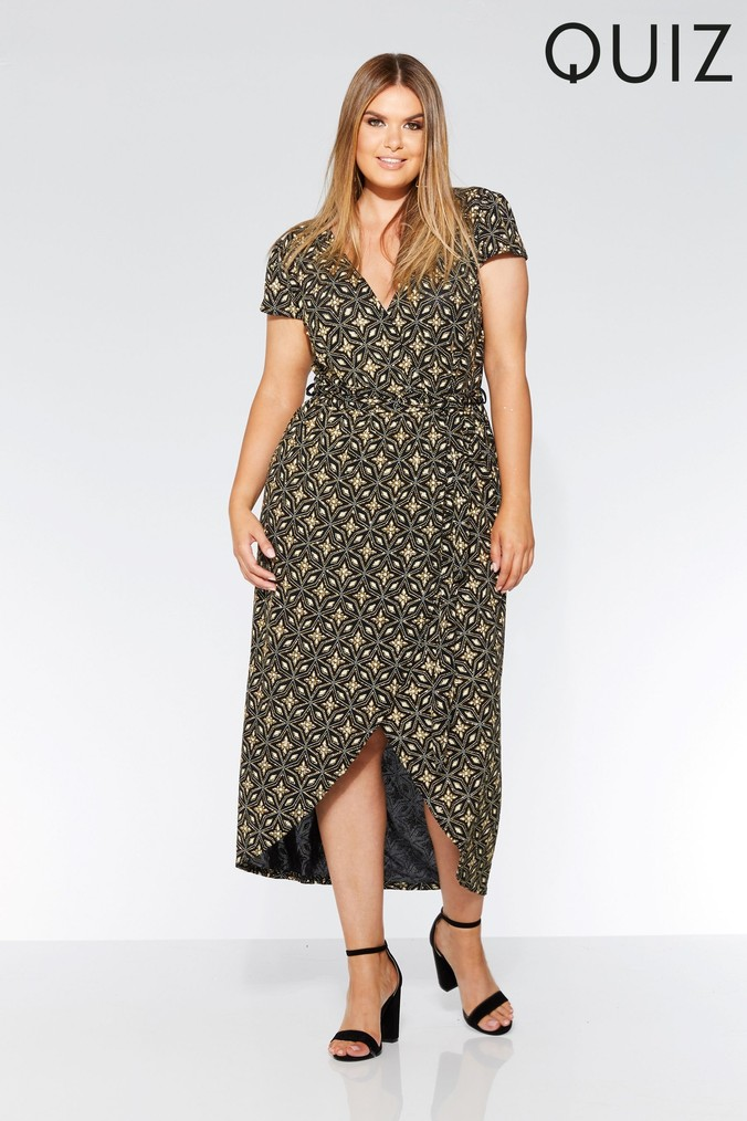 womens quiz curve wrap dress -  gold