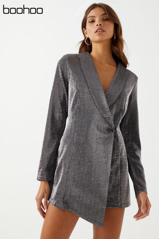 womens boohoo petite metallic blazer dress -  silver