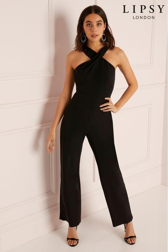 83c0e08ef36 lipsy petite cross front wide leg jumpsuit - 18 - black