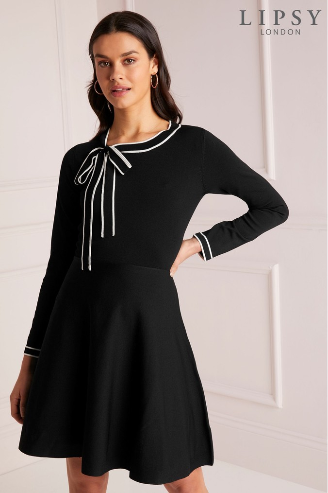 Lipsy Pussybow Skater Dress - 4 - Black