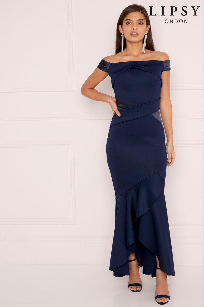 Lipsy Satin Panel Bardot Maxi Dress - 6 - Blue