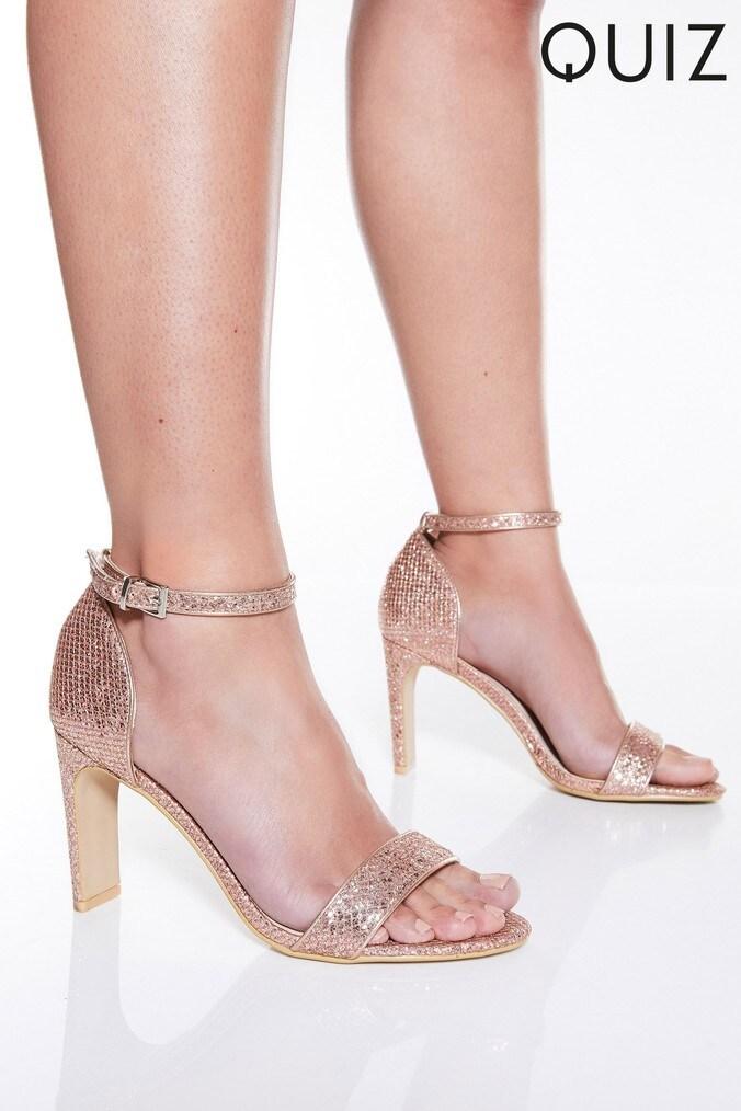 f5e629e093b Womens Quiz Glitter Skinny Block Heel Sandals - Gold - Next at Westquay -  Shop Online