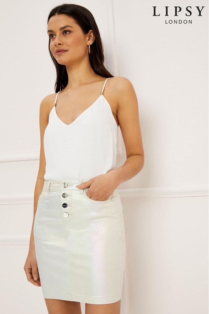 Lipsy Pearlised Mini Skirt - 6 - White