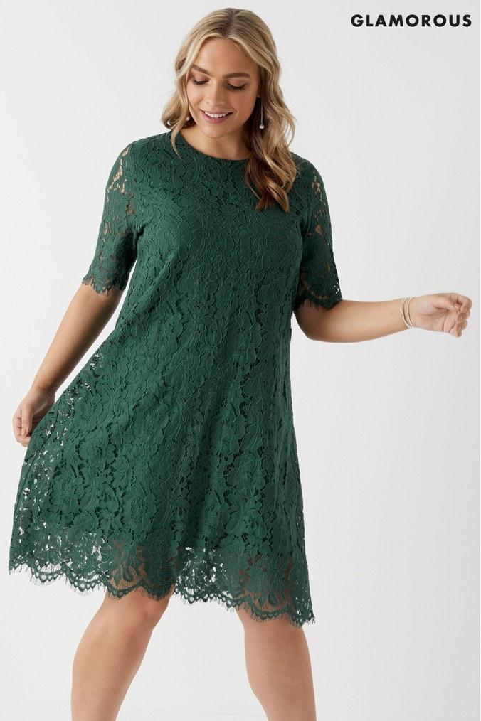 womens glamorous curve lace a line dress -  green