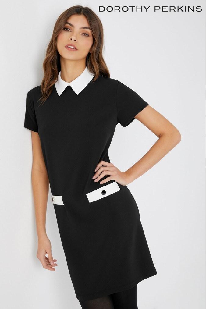 womens dorothy perkins petite shift collared dress -  black