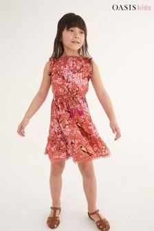 Oasis Printed Ruffle Dress