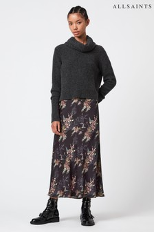 AllSaints 2-In-1 Black Knitted Jumper With Floral Dress