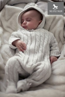 The Little Tailor Cream Baby Knitted Pramsuit
