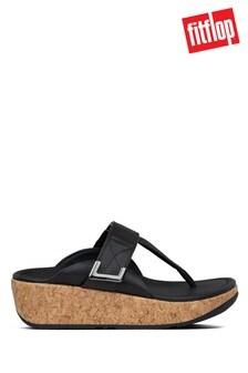 FitFlop™ Black Remi Adjustable Toe Post Sandals