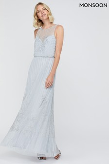 Monsoon Ladies Ellinor Satin Jacquard Maxi Dress