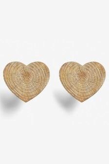 Set of 2 Wooden Effect Heart Curtain Holdbacks