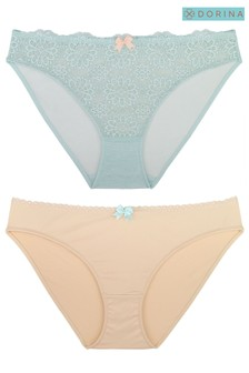 DORINA Blue/Pink Abigail Two Pack Briefs