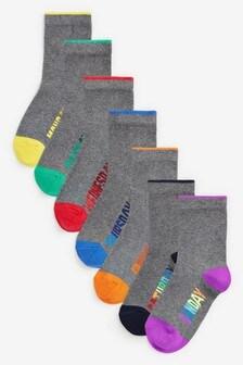 Набор из7 пар хлопковых носков с названиями дней недели (Подростки)