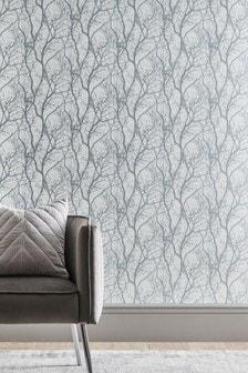 Vinyl Silver Tree Wallpaper