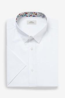 Cotton Linen Floral Trim Shirt