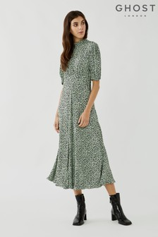 Ghost Luella Speckle Leaf Print Crepe Dress