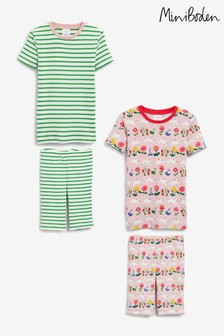 Boden Pink Short John Pyjamas Twin Pack