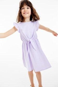 Jersey-Kleid mit Ärmeln mit Lochstickerei (3-16yrs)