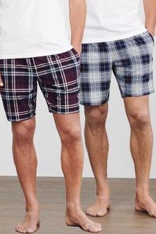 Check Cosy Short Pyjama Bottoms 2 Pack (102218)   $33