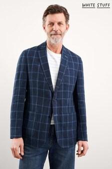 White Stuff Blue St Edmunds Check Linen Blazer