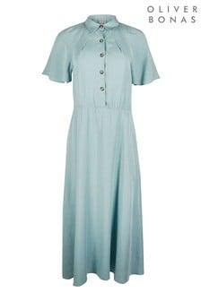 Зеленое платье-рубашка миди с рукавами-крылышками Oliver Bonas