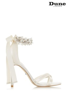 Dune London Martine Ivory Satin Embellished Ankle Tie Court