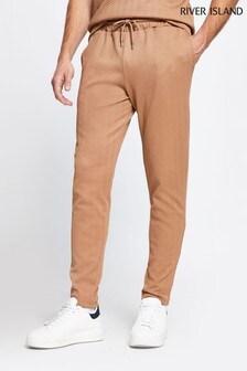 Темно-серые узкие фактурные спортивные брюки с шевронным узором River Island