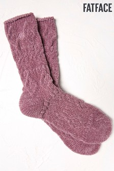 FatFace Purple Chenille Cable Socks